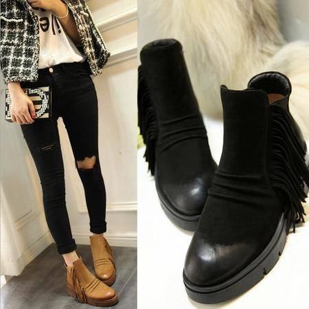 马丁靴时尚潮流女鞋秋季真皮女靴深口流苏防水台厚底坡跟女靴子