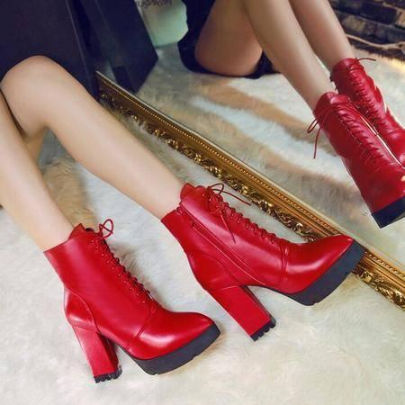 真皮女鞋时尚欧美大牌女靴子防水台系带粗跟马丁靴