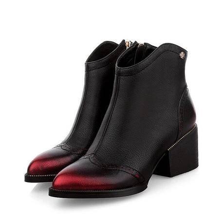 2016新款韩版真皮女鞋擦色复古短靴粗跟尖头女靴欧美低跟马丁靴