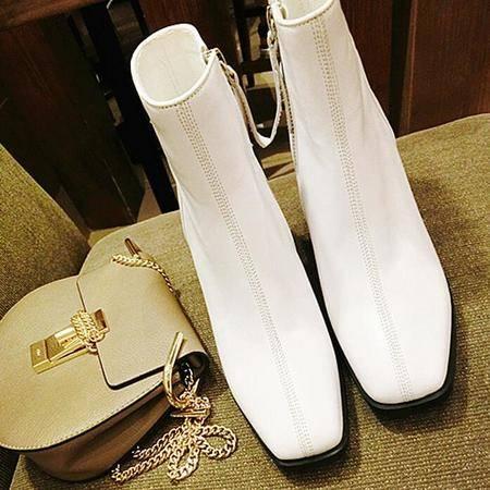英伦风潮流皮靴异形跟方头马丁靴真皮女靴潮流短筒靴单靴