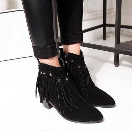 新款欧美高跟短靴真皮流苏靴及裸靴尖头铆钉流苏粗跟马丁靴女鞋