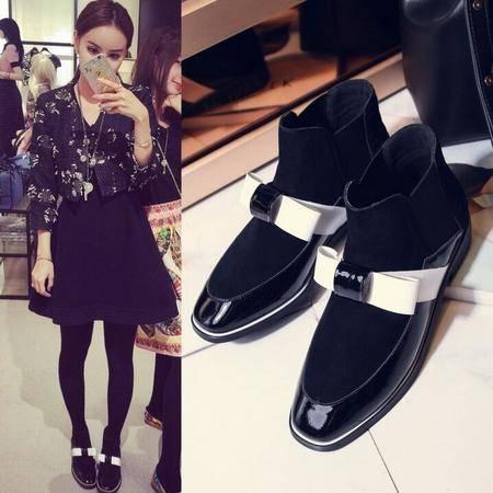 女鞋时尚欧美方头蝴蝶结拼色及裸靴简平底低跟马丁靴