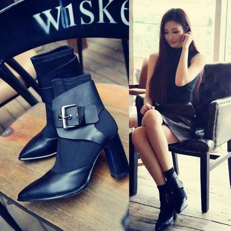 2016秋季欧美真皮女靴子切尔西靴粗跟拼色低筒靴尖头高跟马丁靴