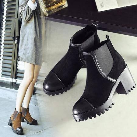 秋冬新款拼色粗跟厚底真皮短靴休闲百搭圆头及裸靴马丁靴