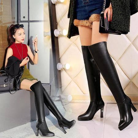 高档皮质女士皮靴欧美真皮女靴潮流过膝弹力靴尖头粗跟保暖靴