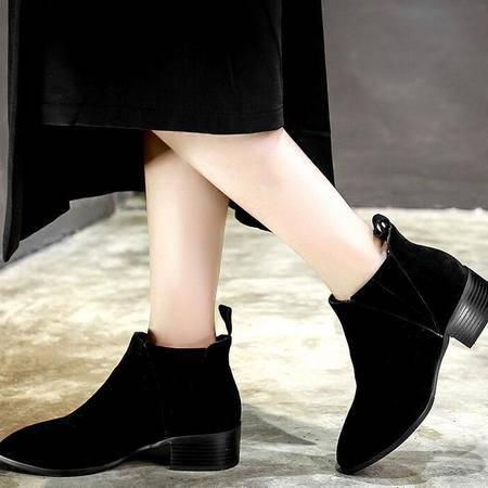 新款欧美范平底粗跟简约马丁靴真皮百搭套脚女靴时尚及裸靴
