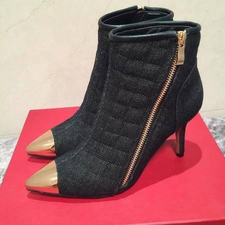 秋冬季新款细跟短靴女鞋金色尖头明星同款女靴潮流百搭时装靴