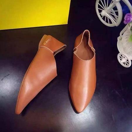 真皮女鞋时尚百搭浅口单鞋舒适平底尖头懒人鞋拼色靴乐福鞋
