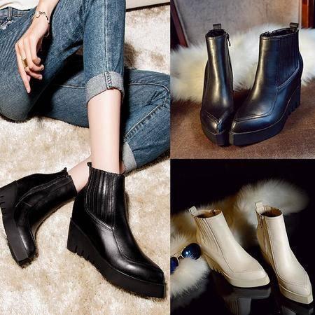 韩版秋季正品真皮女鞋牛皮尖头侧拉链内增高短筒靴简约百搭女靴