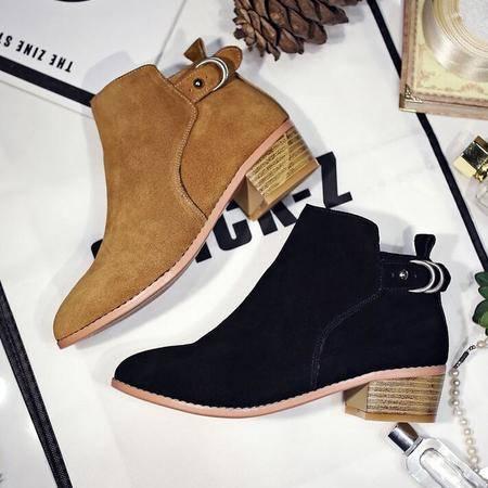 女靴2016秋季新款短靴尖头粗跟短靴真皮磨砂皮短筒马丁靴真皮女鞋