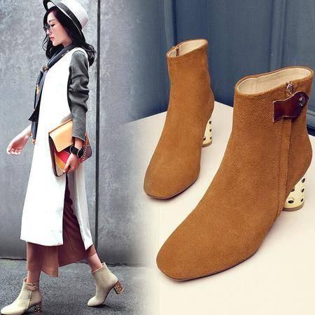 英伦大牌同款铆钉电镀跟磨砂皮短靴时尚真皮女靴