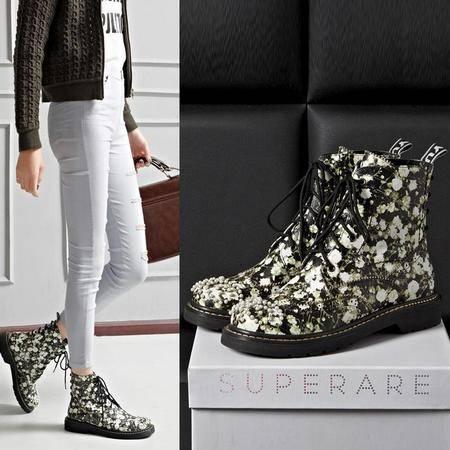 女靴子串珠印花厚底低跟系带马丁靴秋冬季真皮短筒靴