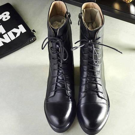 秋季新品骑士靴黑色皮靴金属圆头平底马丁靴内增高坡跟真皮中筒靴