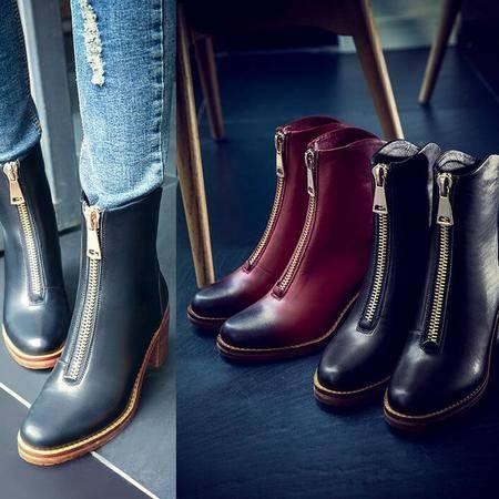 英伦风复古擦色中筒靴拉链圆头平底马丁靴骑士靴真皮粗跟女靴子