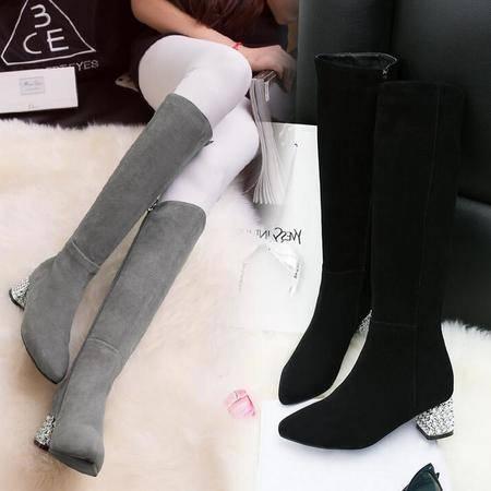 性感水钻粗跟潮流靴真皮平底女靴磨砂皮长筒靴欧美时尚过膝靴