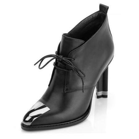 2016秋新款女鞋真皮尖头深口单鞋细高跟低帮鞋罐罐鞋批发网红同款