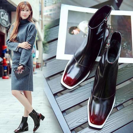 2016新款真皮性感粗跟粗跟短靴方头拼色平底女靴潮流时装靴