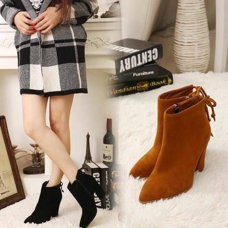真皮短靴粗跟尖头踝靴蝴蝶结绑带马丁靴磨砂皮高跟女靴
