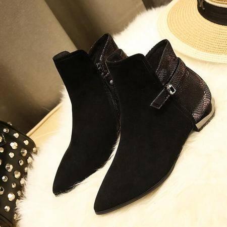 短靴英伦时尚拼色异形跟及裸靴真皮女靴子深口尖头鞋原单女鞋