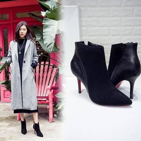 时尚简约尖头及裸靴平底短筒靴欧美风细跟罗马靴磨砂真皮女靴