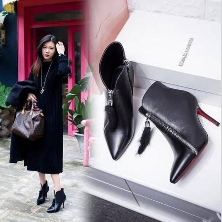 真皮尖头及裸靴秋冬季新款真毛流苏短靴性感细跟女鞋