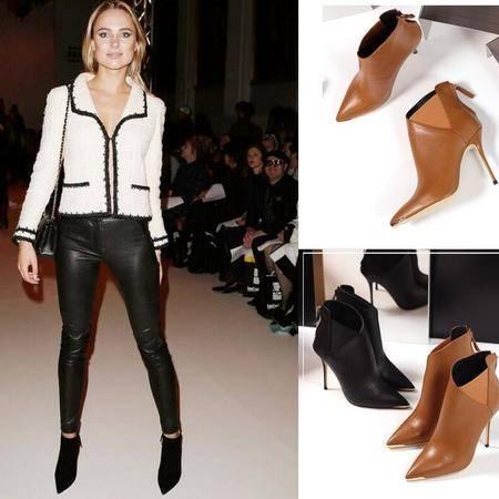 欧美秋冬韩版高跟短靴子性感马丁靴潮流尖头细跟及裸靴真皮女鞋