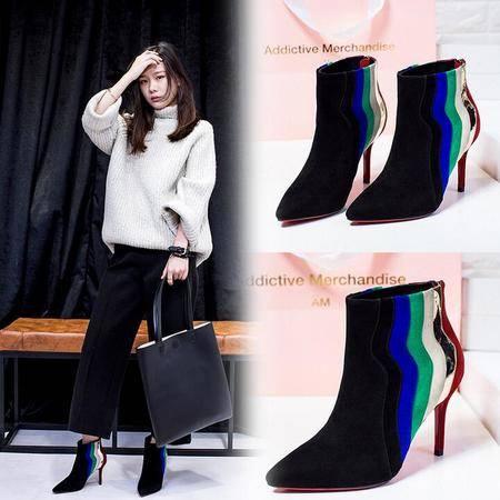 性感拼色女靴子细高跟尖头短靴年欧美潮流皮靴撞色全真皮短靴