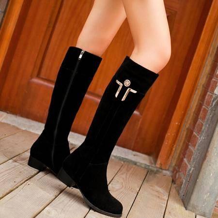 2016秋季爆款磨砂皮长筒靴金属平底真皮粗跟过膝靴大小码女靴