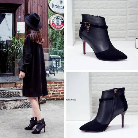 短靴新款女靴细跟尖头马丁靴欧美大牌低筒靴真皮带扣皮高跟女