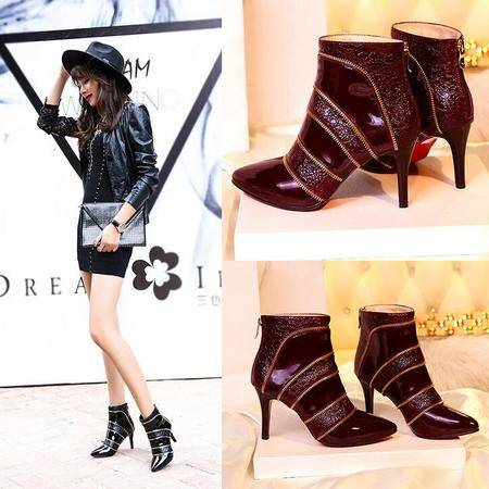 韩版新品秋冬淑女尖头低筒真皮女鞋金属后拉链细高跟短筒靴潮