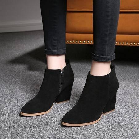 英伦及裸靴尖头防水台粗跟女靴复古磨砂真皮短靴