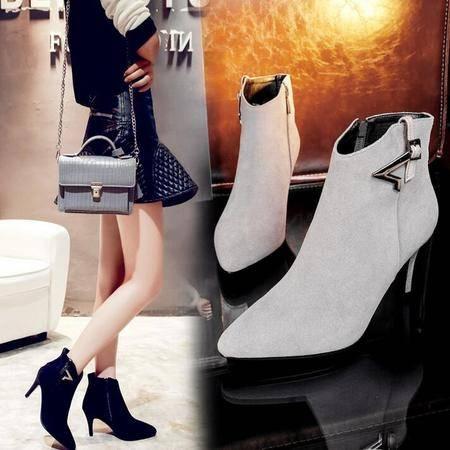 磨砂皮尖头高跟短靴金属细跟女靴子短筒靴真皮女鞋