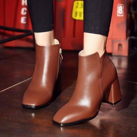 秋冬新款英伦时尚短靴女靴子真皮粗跟及踝靴罗马靴