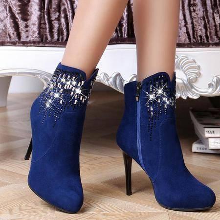 性感夜店女鞋秋新款时尚真皮女靴防水台尖头时装靴性感细高跟鞋