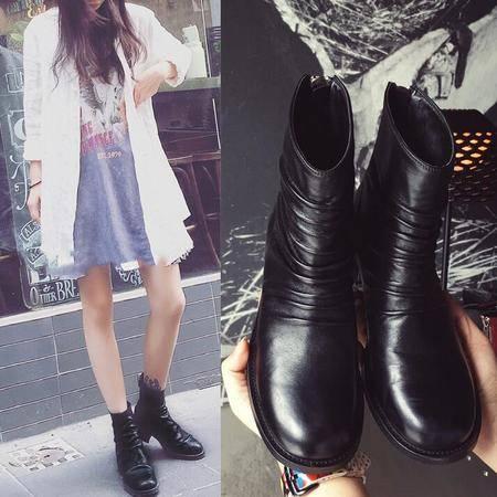 2016新款女靴自然皱真皮粗跟中跟中筒靴圆头牛皮韩版淑女靴