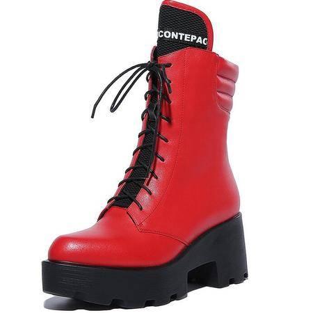 秋冬新款防水台高跟女靴系带粗跟中筒靴保暖棉靴骑士靴