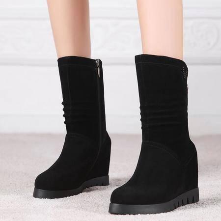 秋季欧美明星同款真皮女靴厚底内增高中筒靴磨砂皮坡跟马丁靴