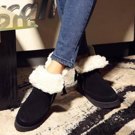 2016冬季新款雪地靴加绒内增高短筒靴厚底防滑保暖雪地靴真皮女靴