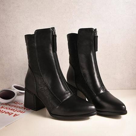 女鞋尖头擦色平底中筒靴拉链粗跟马丁靴真皮休闲女靴