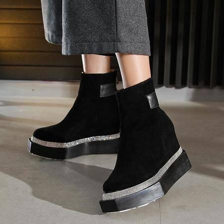 2016秋冬新款欧美风方头坡跟头层牛皮单靴松糕厚底真皮短靴女靴