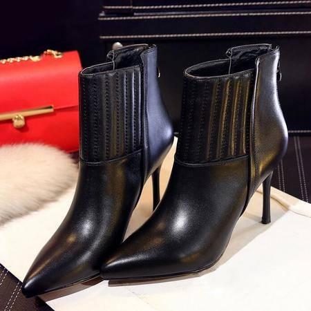 真皮尖头高跟靴2016新款女靴优雅时尚细高跟短靴