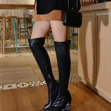 欧美高档皮质过膝弹力靴印花防水台尖头长筒靴真皮坡跟级车靴