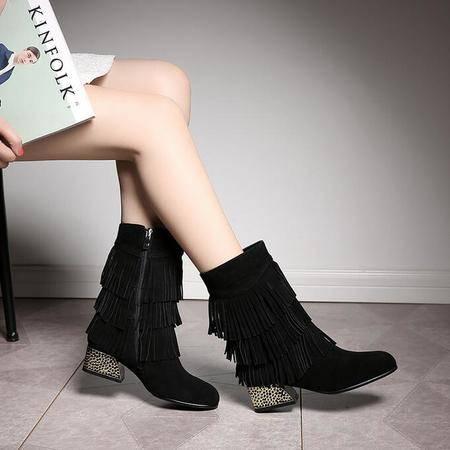 2016秋冬女靴水钻流苏短靴侧拉链平底罗马靴真皮粗跟女鞋