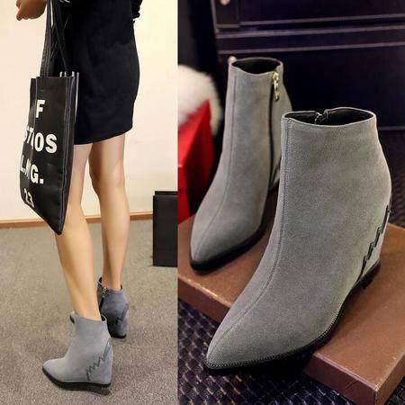 真皮2016秋季新款韩版平底坡跟短靴女高跟马丁靴女靴