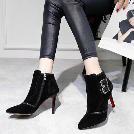 欧美真皮尖头短靴高跟头层牛皮磨砂皮带扣细跟淑女裸靴性感女鞋