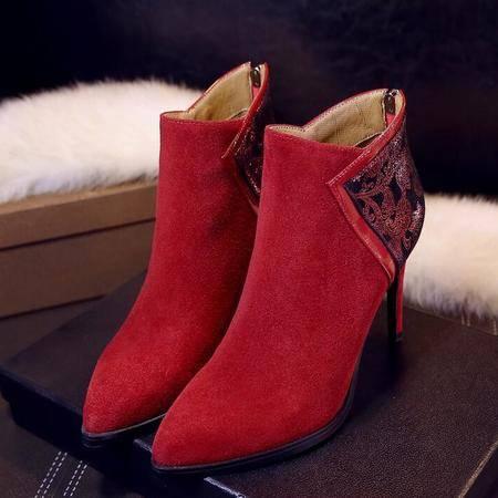 真皮女靴欧美性感小尖头细高跟裸靴秋冬新款百搭马丁靴