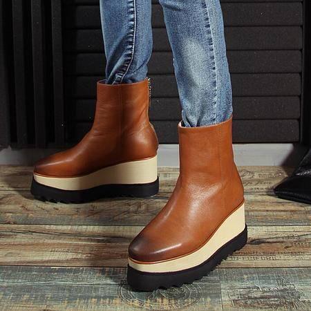 时尚女士单靴松糕厚底马丁靴复古擦色短筒靴内增高坡跟真皮女靴