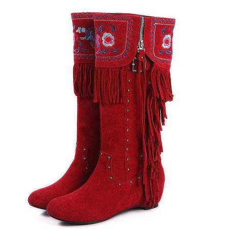 名族风女鞋欧美时尚正品绣花女靴内增高铆钉坡跟流苏靴