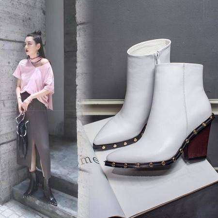单新款粗块跟时尚铆钉短靴真皮女靴欧美大牌骑士靴女鞋