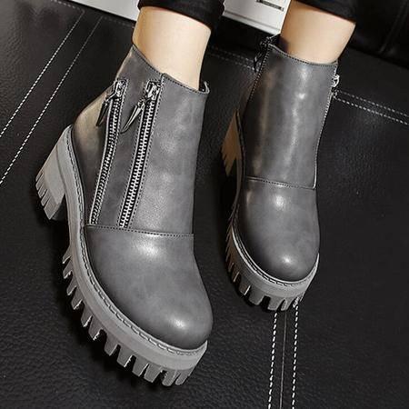 2016冬季新款马丁靴侧拉链厚底及裸靴真皮粗跟女靴切尔西靴